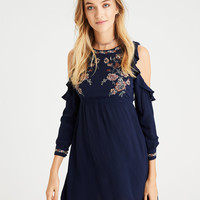 AE Embroidered Ruffle Cold Shoulder Dress, Navy