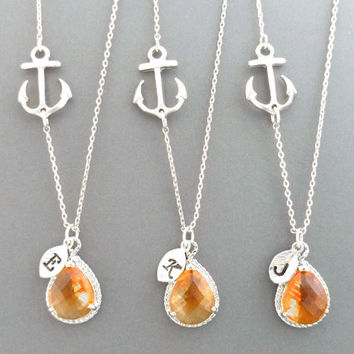 Set of 1-4, Personalized, Letter, Initial, Sideways, Anchor, Tangerine, Orange, Glass, Stone, Gold, Silver, Necklace, Sets, Wedding, Gift