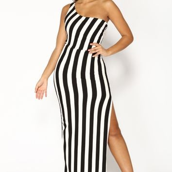 Ziggy Stripe Dress - Black/White