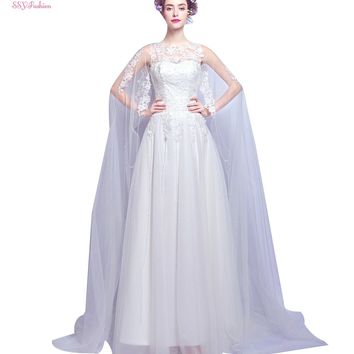 Bride Princess Married Sweet Lace Flower Long Wedding Dress with Long Tail Veil Sexy Wedding Gown