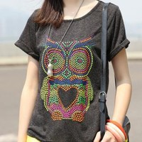 Colorful Rhinestone Owl with Heart T-shirt for Women