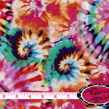 TIE DYE Fabric by the Yard Half Yard or Fat Quarter Tye Dye Fabric Red Teal Blue Orange Fabric 100% Cotton Quilting Apparel Fabric t3-39