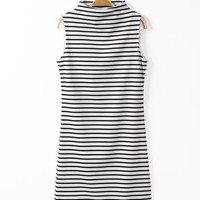 Black and White Striped Cowl Neck Sleeveless Midi Dress