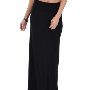 Lyss Loo Casablanca Fold Over Black Maxi Skirt