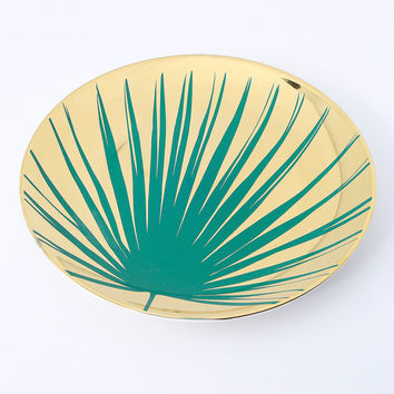 Paradise Green and Gold Botanical Porcelain Dinner Plates