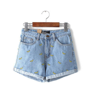 fashion women Korean summer banana shorts