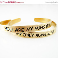 ON SALE Set of TWO,You Are My Sunshine, My Only Sunshine, bracelets set, Brass Bracelets, mother daughter jewelry 1/4-inch cuff