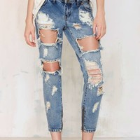 One Teaspoon Trashed Freebird Jeans - Vintage Blue
