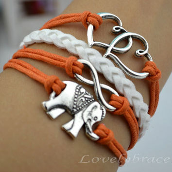 Double heart charm bracelet, elephants bracelet, karma bracelet, a symbol of the love of girl, that girl a gift
