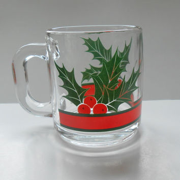 Four Christmas Holiday Glass Mugs Holly Red and Green By Libbey