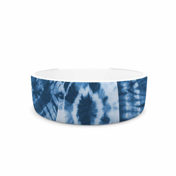 "Jacqueline Milton ""Shibori Patchwork - Indigo"" Blue Abstract Mixed Media Pet Bowl"