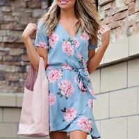 * Blossom Floral Surplice Dress : Seafoam