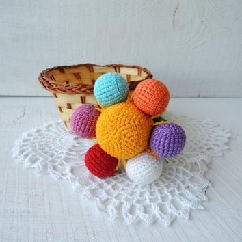Crochet rattle Flower, Cute stuffed flower, Soft toys for baby, Shower gift child, Eco friendly rattles, Organic teething toy, Sensory toy