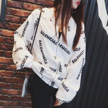 ICIK6HW Balenciaga' Women Fashion Casual Logo Letter Print Loose Long Sleeve Zip Cardigan Baseball Clothes Coat