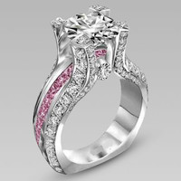Clear and Pink Cubic Zirconia Wedding Set White Gold Plated (HR-2500)
