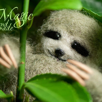 Felted sloth, felt animal, wool creature