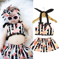 2pcs Kids Baby Girl Clothes Floral Stripe Tops+Skirts Summer Dress Outfits Set