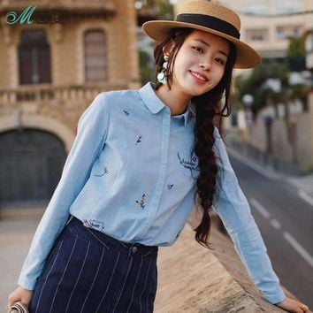 Inman Products Women Clothes Little Freshness Embroider Long Sleeves Blouses Shirts Cotton