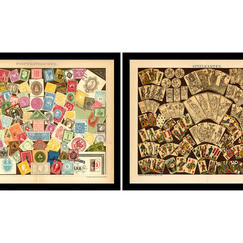 Cards and Stamps Pair, 1895 Diptych, Original Vintage Prints