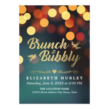 Modern Teal Gold Sparkle Bokeh Light Bridal Shower Card