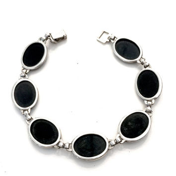 Symmetalic Sterling Silver Bracelet, Bezel Set Oval Black Onyx Cabochons, Art Deco, 14K Gold Filled, Stack, Vintage Gift for Her, Signed