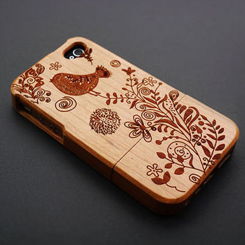Humming Bird Cherry Wood iPhone 4s Case - Custom iPhone 4 Case - iPhone 4s Phone Cases - Wooden iPhone 4 4s Case - iPhone 4 4S Case Wood