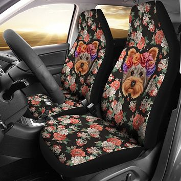 Floral Yorkie Car Seat Cover