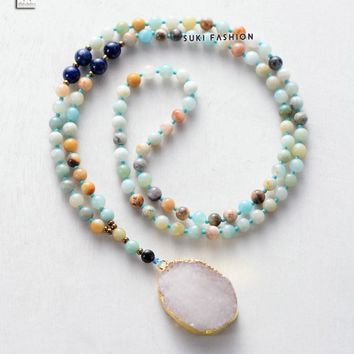 Druzy Necklace Semi Precious Stones With Natural Gilded Drusy Pendant Necklace Handmade Beaded Women Rosary Necklace Amazonite