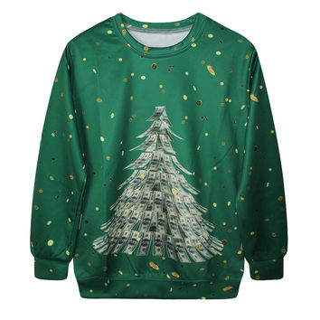 Casual Print Christmas Ugly Christmas Sweater Hoodies [9440722884]