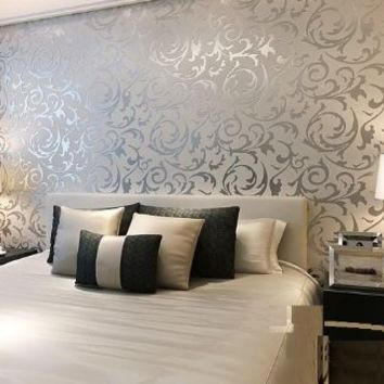 QIHANG Sliver Gray Victorian Damask Embossed Textured Wallpaper High Quality 0.53m*10m=5.3㎡
