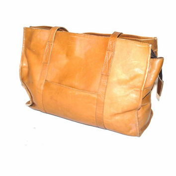 genuine leather WEEKENDER bag 70s vintage CARAMEL distressed leather RETRO duffle bag oversized tote