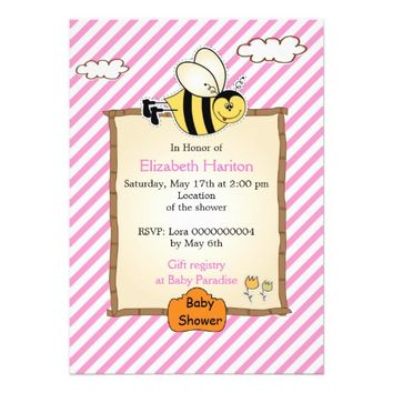 Cute bee pink, white stripes baby girl shower invitation