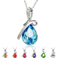 36PCS 2015 new arrive Sterling Silver Necklace Luxurious Blue austrian crystal Angel's tear Pendant in stock now D113