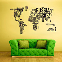 Large Big Wall Vinyl Sticker Decals Decor Art Bedroom Design Mural World Map Country Words Quotes (z1712b)