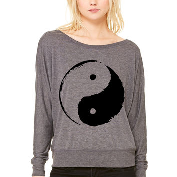 ying yang WOMEN'S FLOWY LONG SLEEVE OFF SHOULDER TEE