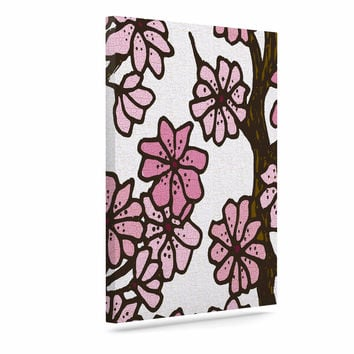 "Art Love Passion ""Cherry Blossoms"" White Pink Canvas Art"