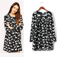 Black Cat Print Long-Sleeve Ruffled Dress