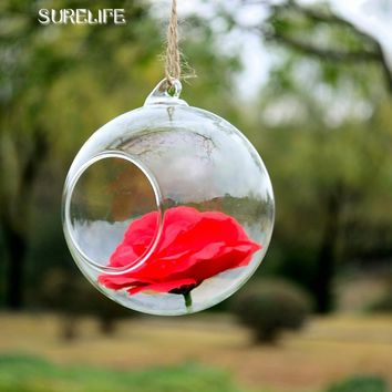 12pcs High Quality Clear Glass Round Terrarium Flower Plant Stand Hanging Vase Hydroponic Home Office Wedding Garden Decor F1