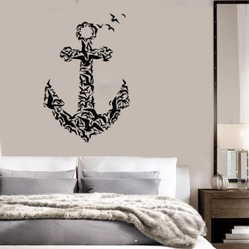 Vinyl Decal Anchor Birds Sea Nautical Marine Sailor Art Mural Wall Stickers Unique Gift (ig2000)