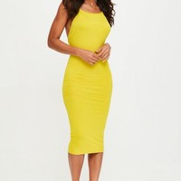 Missguided - Yellow Low Back 90s Neck Bodycon Midi Dress