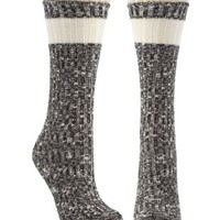 Black Combo Marled & Crochet Ruffle Crew Socks by Charlotte Russe