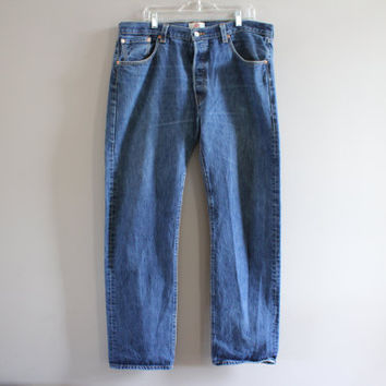 Levis 501 Waist 38 Vintage Levi's Jeans High Waist Button Fly Straight Leg Washed Denim Mom Jeans Boyfriend Jeans Hipster 38X34 #P005A