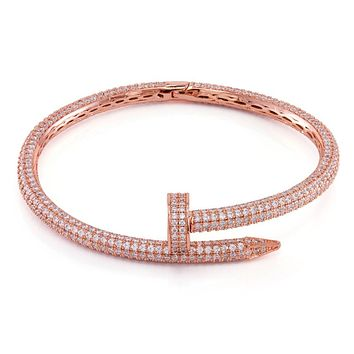 The Rose Gold CZ Studded Nail Bracelet