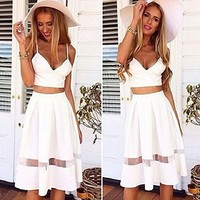 1set Women Two Piece Crop Top Midi Skirt Set Summer Holiday Beach Skirt