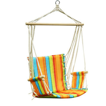 Confetti Rainbow Stripe Hammock Chair with Wooden Armrest  (17 inch wide)
