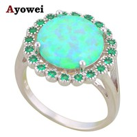 Ayowei Weddding Accessories Green Fire Opal 925 Silver Rings Fashion Jewelry Ring for Women USA Size #6#7#8#9#10 OR865A