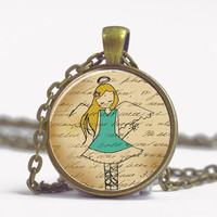 Pendant with Chain - Little girl angel