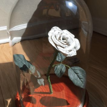Music Paper Flower With Glass Dome and LED Lights Magical Wedding Table Centerpiece Recital