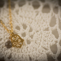 Hamsa necklace, gold hamsa necklace, gold-lace hamsa, delicate hamsa necklace,hand charm, hamsa charm, hamsa pendant, smokey quartz necklace