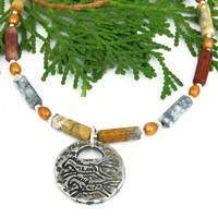 Southwest Horse Petroglyph Necklace, Picasso Jasper Pearls Zia Sun Spiral Handmade Jewelry